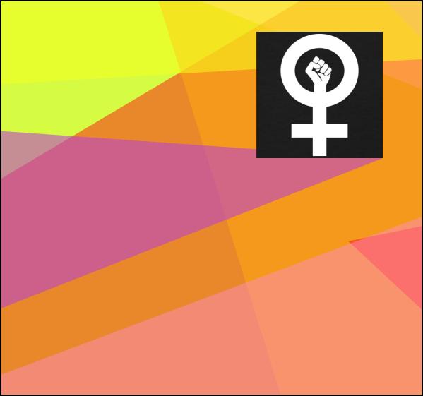 verschiedenfarbige Dreiecke übereinander und im oberen rechten Ecken das feministische Symbol in Weiss in schwarzem Rechteck. Dies ist Teil des Flyers der Hochschulen Zürichs.