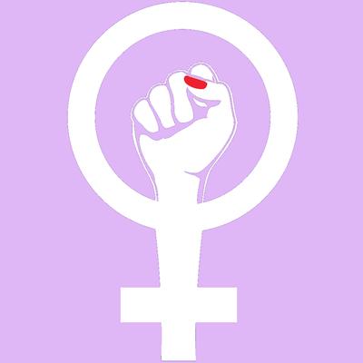 Frauen*streiklogo: das Feminismussymbol mit einer Faust mit rotem Nagellack auf dem Daumen sichtbar. Hintergrund ist rosa