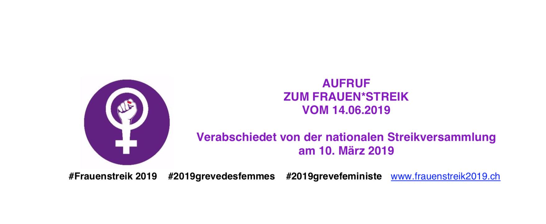 Aufruf zum Frauenstreik vom 14.06.2019
