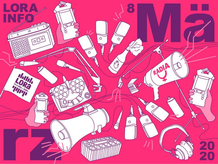 Das Logo von Radia, dem Frauenstreikradio von Radio LoRa
