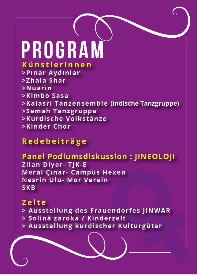Programm des Sakine Cansız Festivals. Siehe Eventbeschrieb