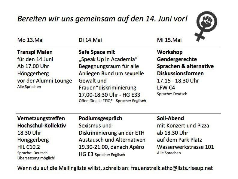 Programm der Aktionstage an der ETH. (Siehe Veranstaltungen)