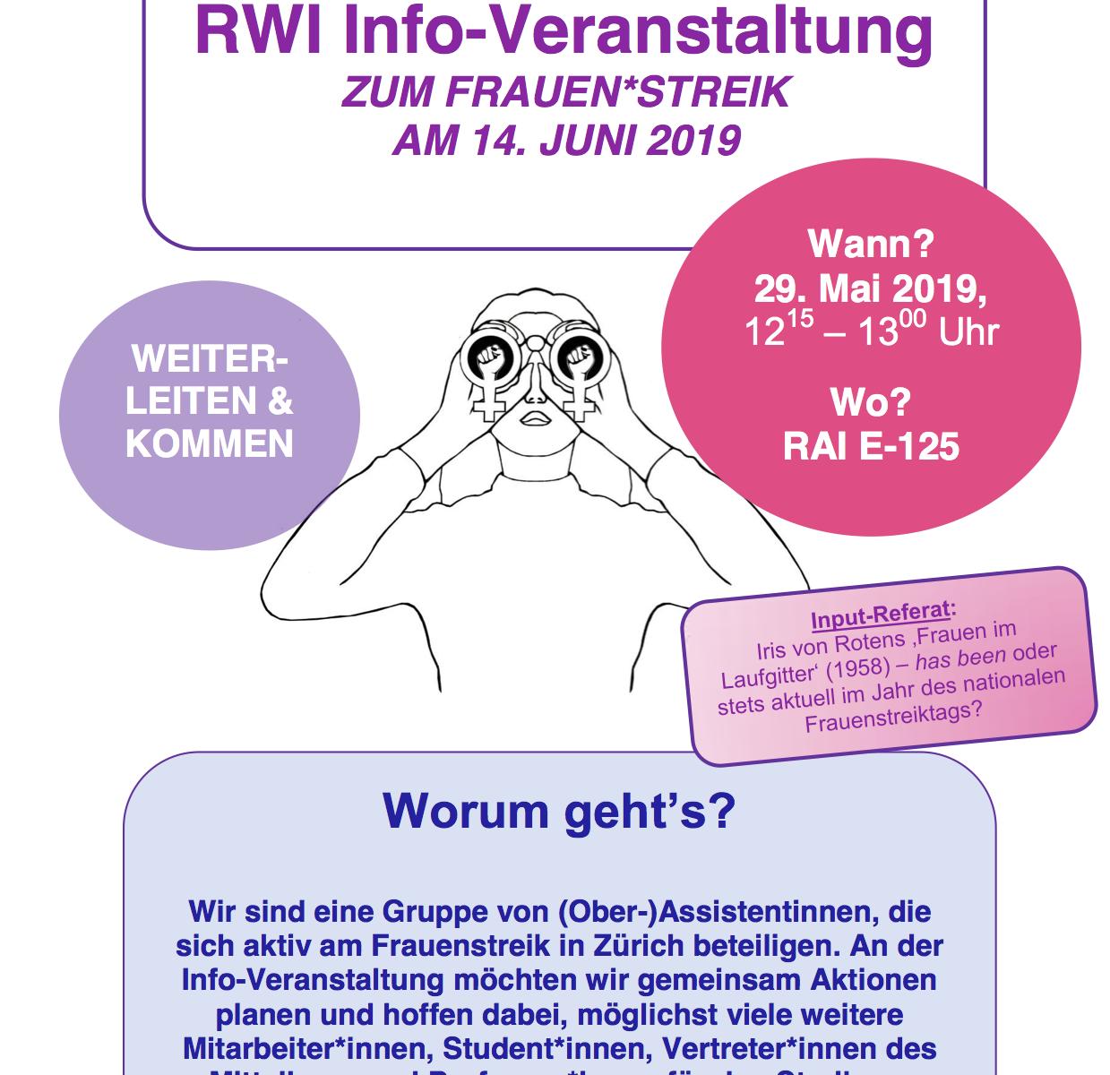 Flyer des Rechtswissenschaftlichen Instituts. Das Zürcher Logo des Frauenstreiks mit dem Feldstecher, rundherum Kästchen mit den Infos, siehe Veranstaltung