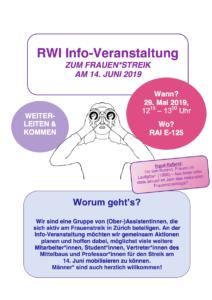 Informationsveranstaltung Frauenstreik am Rechtswissenschaftlchen Institut