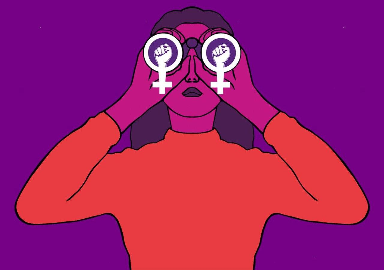 Logo des Frauen*streikkollektiv Zürichs. Eine Frau die durch einen feministischen Feldstecher schaut