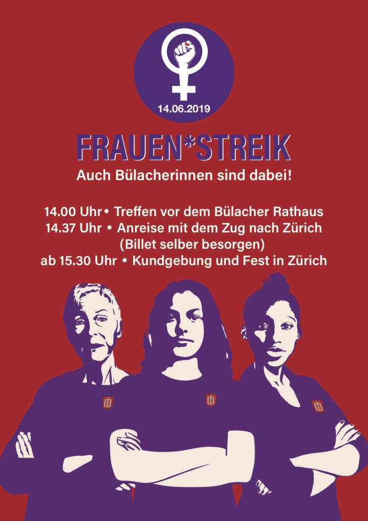 Plakat des Frauen*streiks in Bülach mit Zeiten für den 14. Juni, siehe Seite