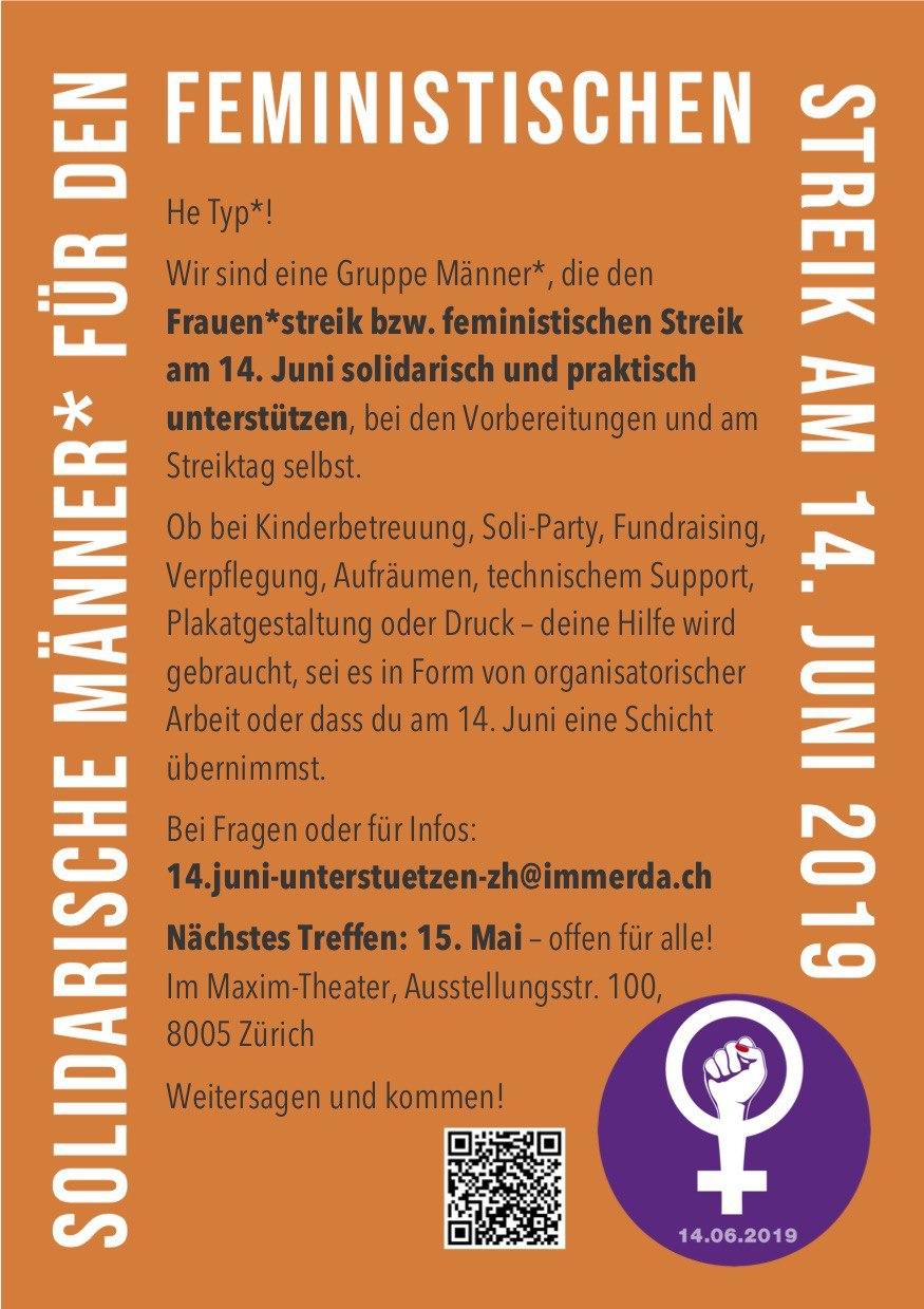 """Flyer der """"Solidarische Männer"""" für den Feministischen Streik am 14. Juni 2019"""" zu lesen ist der Text wie auf der Webseite"""