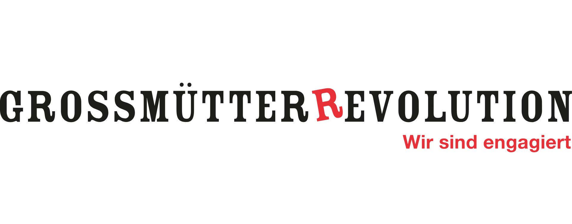 """Logo """"Grossmütterrevolution"""" wobei das R von Revolution rot und schief steht. Darunter steht """"wir sind engagiert"""""""