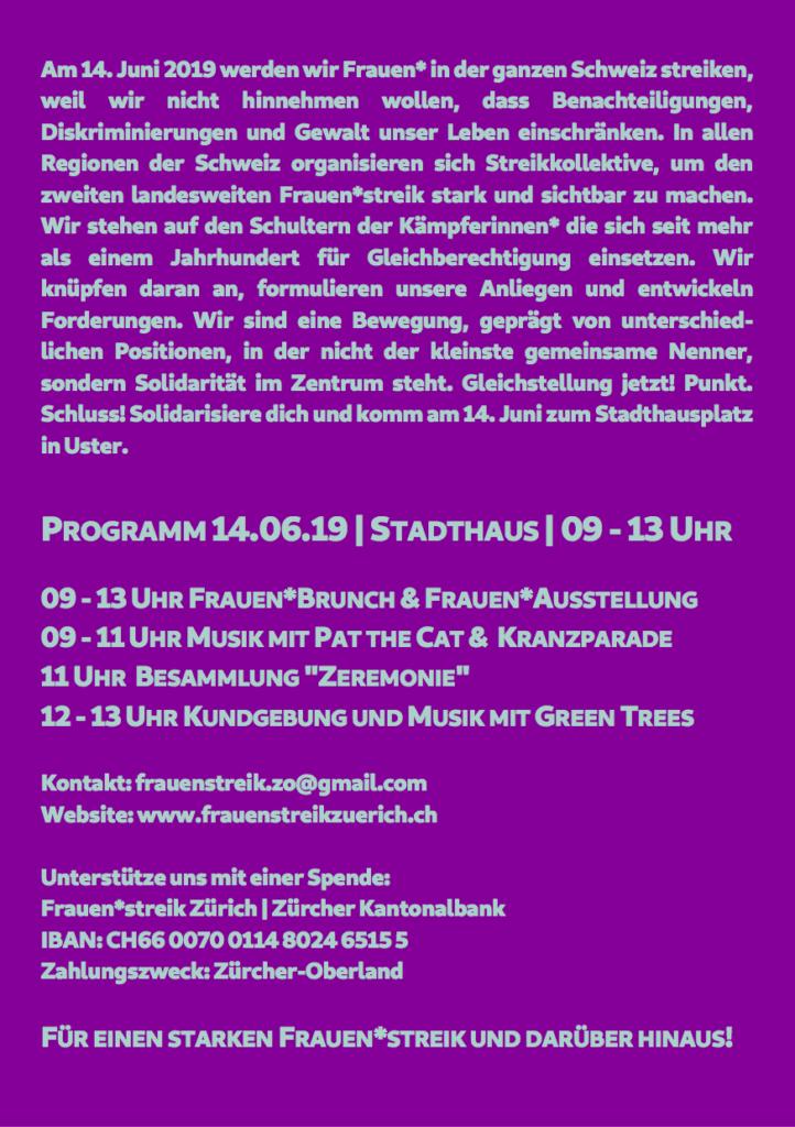Rückseite des Programms für den 14. Juni in Uster