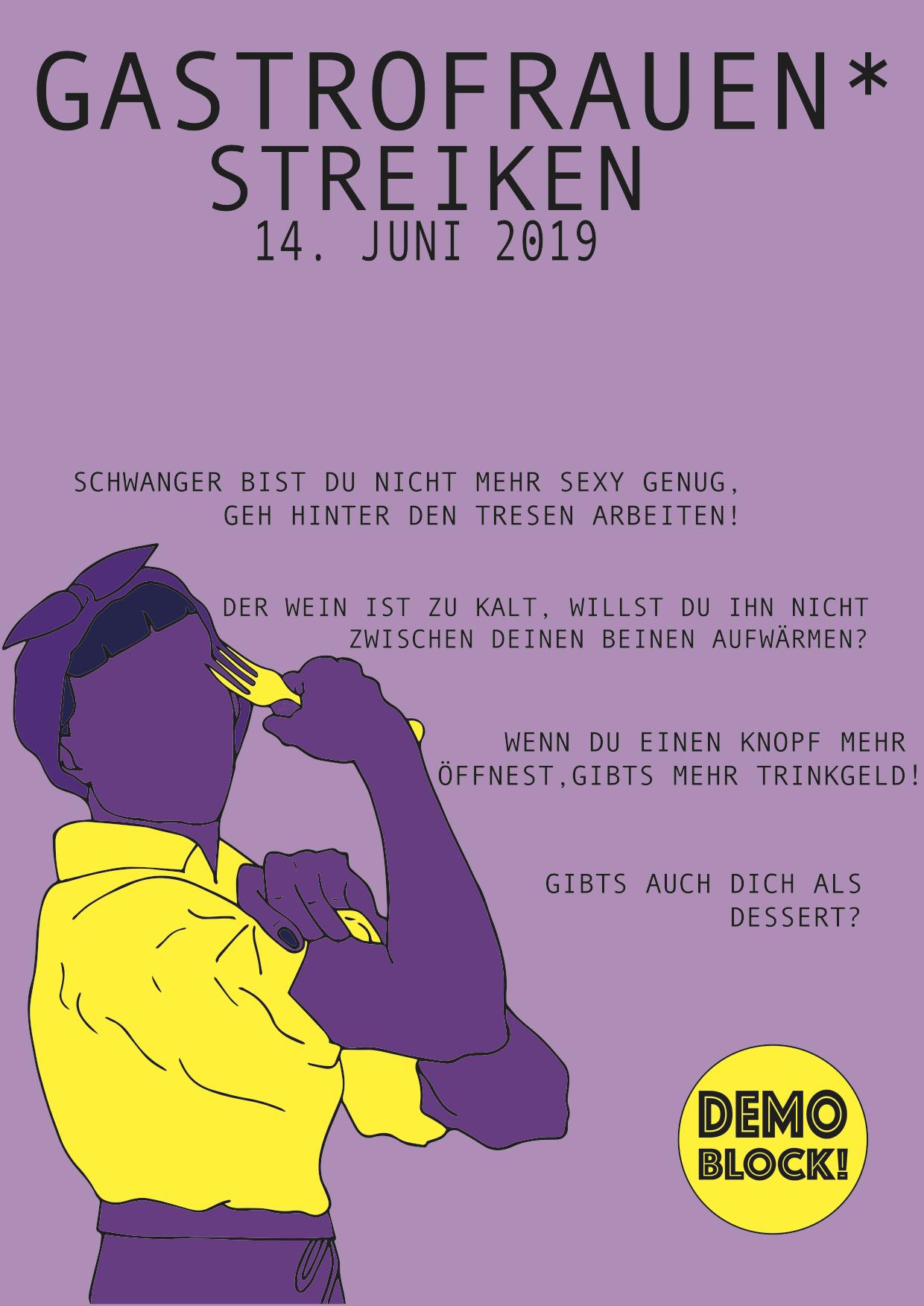 Flyer der Gastra, mit seixistischen Zitaten aus dem Gastronomiealltag und Aufruf zum Gastra-Block an der Demo