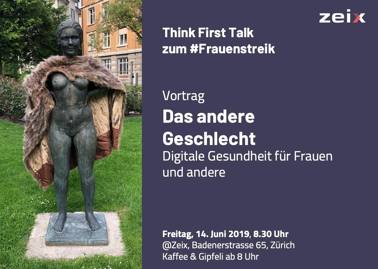 """Bild zum Vortrag """"das Andere Geschlecht – Digitale Gesundheit für Frauen und andere"""" mit einem Foto einer Frauenstatue mit einem Pelzmantel übergeworfen"""