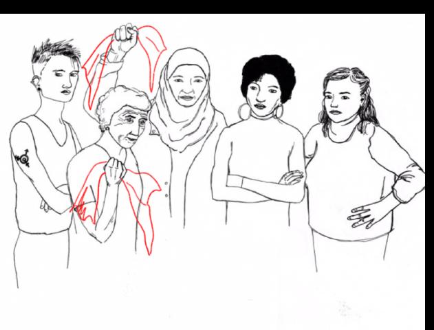 Symbol des Streikkollektivs mit den verschiedenen FTIQ*s, zwei halten Küchentücher in der Hand