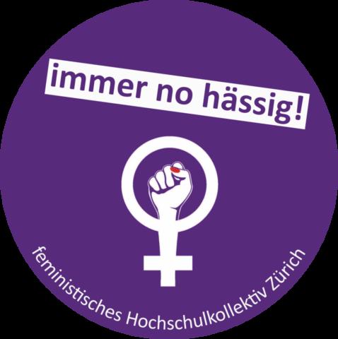 """schweizweites Streiksymbol, frauenzeichen mit Faust auf violettem Hintergrund über dem Zeichen steht """"immerno hässig!"""", """"darunter feministisches Hochschulkollektivh Zürich"""""""