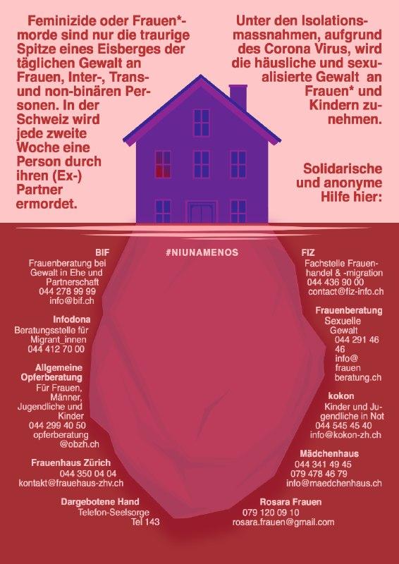 Ni Una Menos Flyer mit Links zu solidarischer und anonymer Hilfe für Frauen*