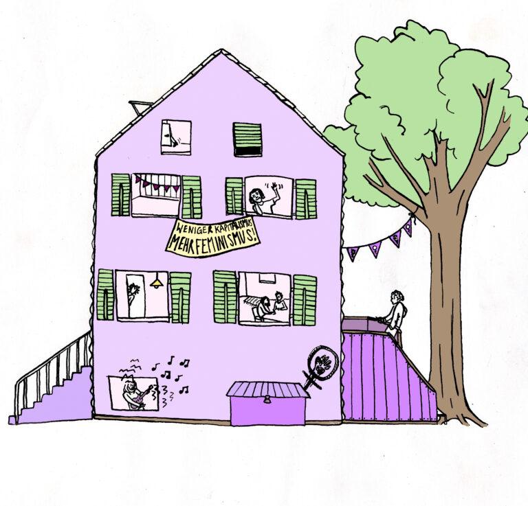 Zeichnung des Streikhauses, mit Transparenten aus den Fenstern, Menschen die ein und ausgehen, Musik die aus den Fenstern schallt und einem Baum mit Girlande