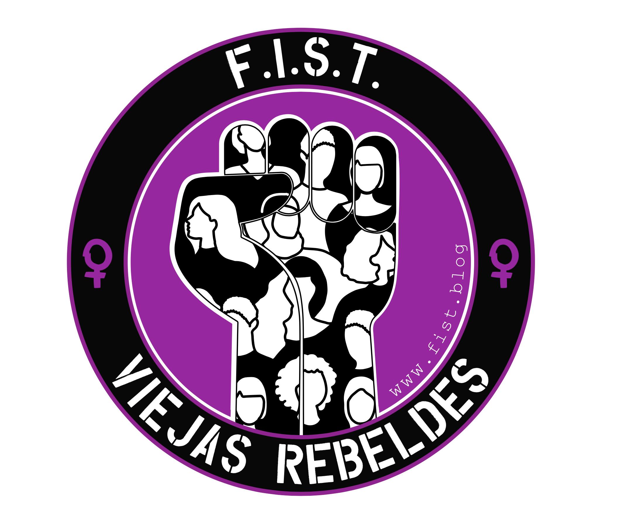 Faust in Kreis, gefüllt mit figuren auf violettem Hintergrund darüber steht F.I.S.T. darunter Viejas rebeldes