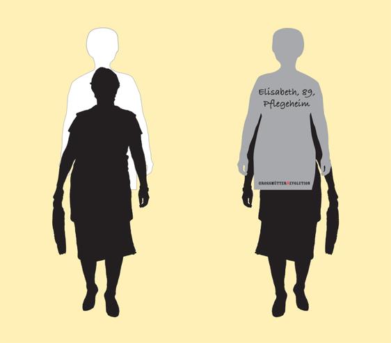 Silhouetten stilisierter Grossmütter mit dem Text Elisabet 89, Pflegeheim und GrossmütterRevolution